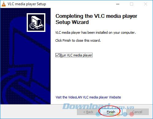 Kết thúc cài đặt VLC 360