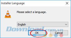 Lựa chọn ngôn ngữ cài đặt VLC 360