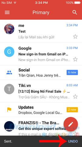 Undo mail