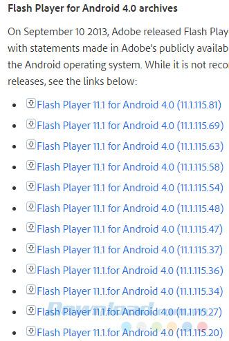 Danh sách các phiên bản Flash