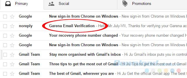 Email từ Garena