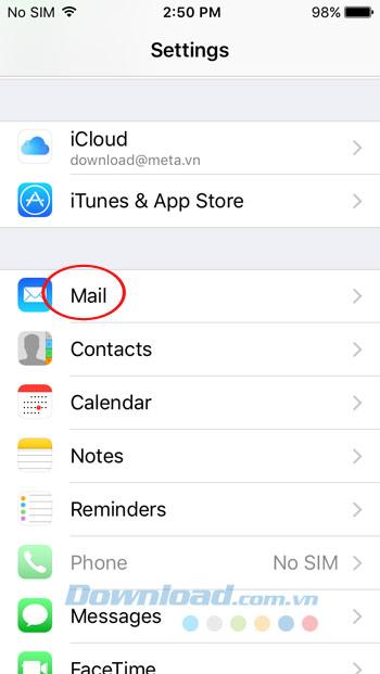 Cài đặt Mail