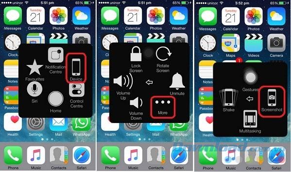Chụp màn hình iPhone bằng Home ảo