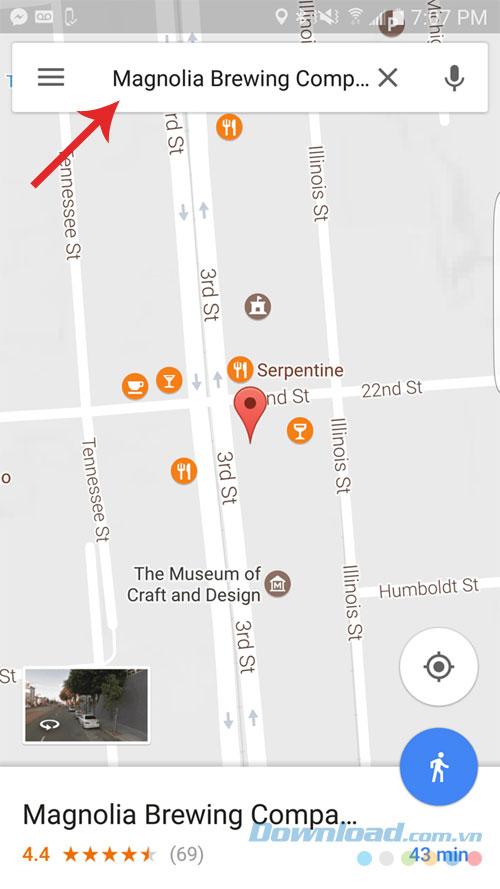 Tìm kiếm địa điểm trên bản đồ Google Maps