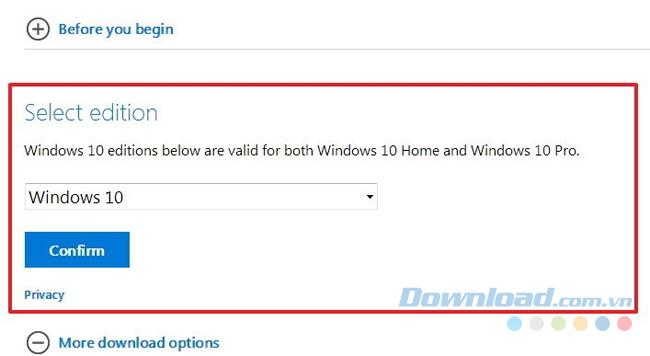 Chọn Windows 10, sau đó nhấn Confirm