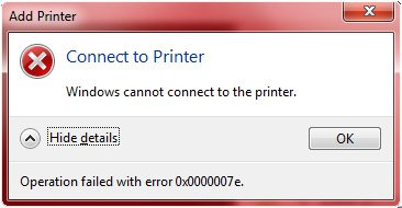 Lỗi Windows cannot connect to printer