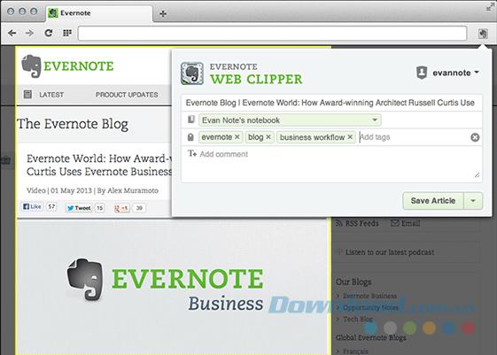 Thu thập thông tin với Evernote Web Clipper