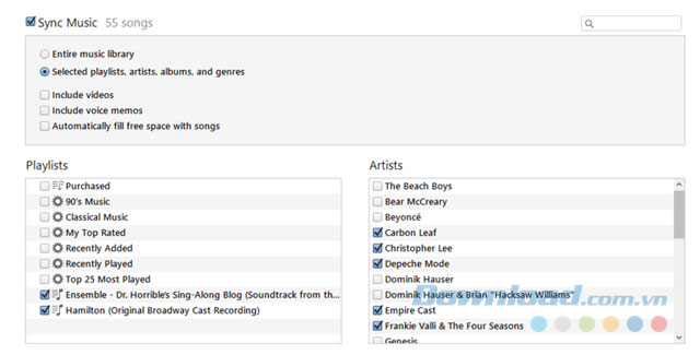 Đồng bộ iPhone, iPod với thư viện iTunes