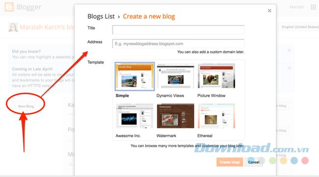 Tạo tài khoản Blogger