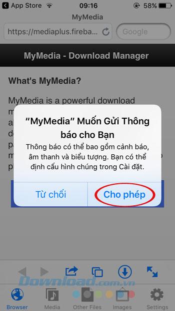 Nhận thông báo từ MyMedia