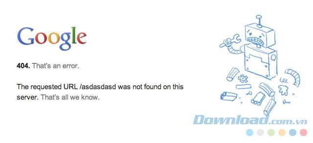 Màn hình thông báo lỗi 404