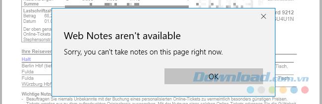 Tính năng Web Note không khả dụng