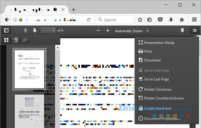 Giao diện đọc PDF của Firefox