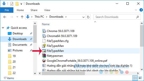Mở FileTypesMan