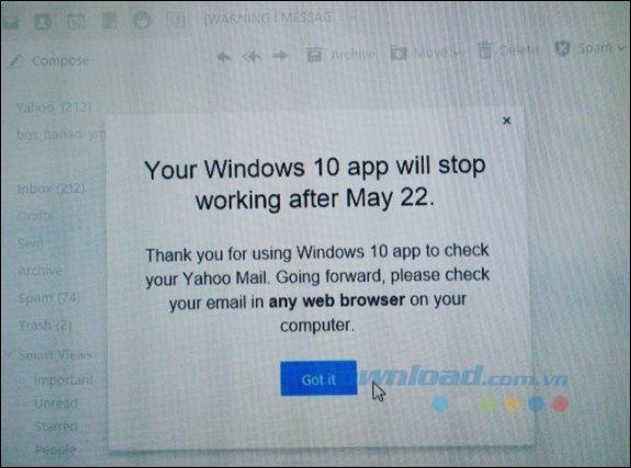 Thông báo của Yahoo
