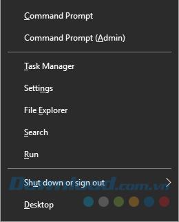 Truy cập thông qua phím Windows + X