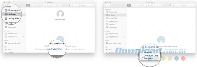 Bật hoặc tắt AirDrop trên Mac