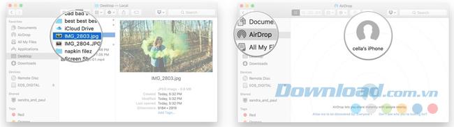 Chia sẻ file trên Mac qua AirDrop bằng cách kéo và thả