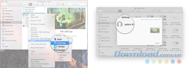 Chuyển file qua AirDrop từ Mac sử dụng trình đơn ngữ cảnh