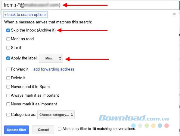 Để chuyển email vào một folder cụ thể