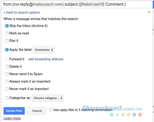 Để chuyển email vào folder Action