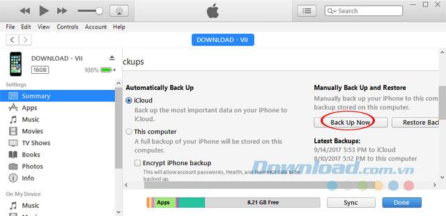 Nhấn vào Backup Now trên iTunes