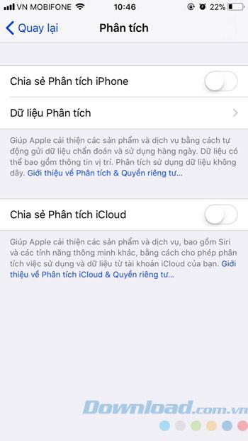 Giao diện tắt phân tích iphone