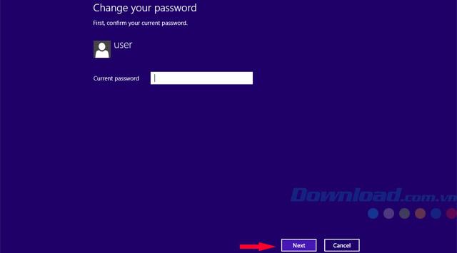 Giao diện đổi mật khẩu WIn8