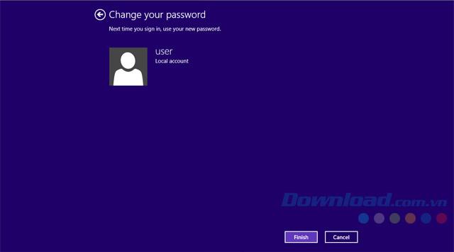 Đổi thành công mật khẩu Win 8