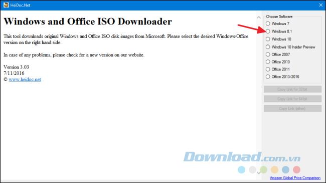 Chọn phiên bản Windows hoặc Office