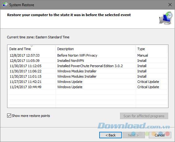 Quay về điểm khôi phục Windows 10