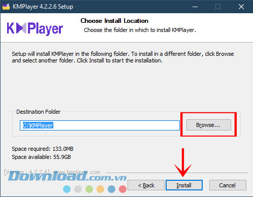 Giao diện cài đặt KMPlayer