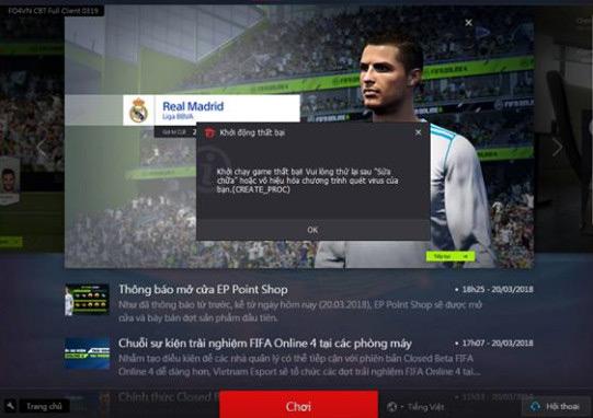 Tổng hợp lỗi FIFA Online 4 và cách khắc phục