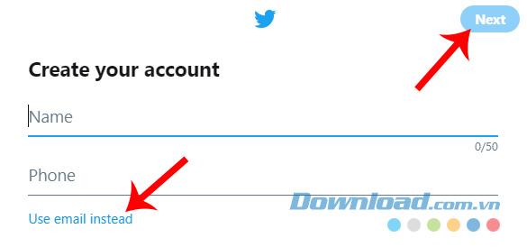 Nhập thông tin tài khoản Twitter