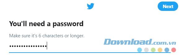 Điền mật khẩu tài khoản Twitter