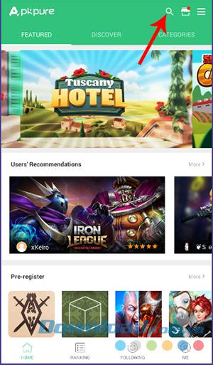 Tìm kiếm ứng dụng cho máy Android