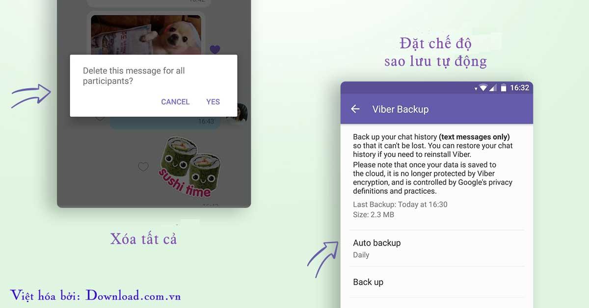 Viber hỗ trợ sao lưu tự động