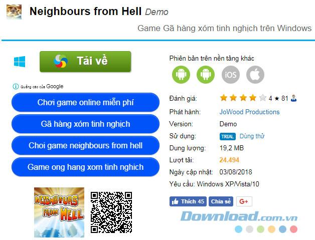 Tải game Neighbours from Hell cho máy tính