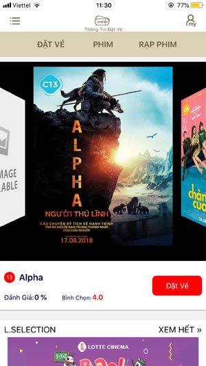 Giao diên chính của ứng dụng Lotte Cinema