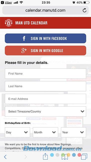 Giao diện chính trang đăng ký