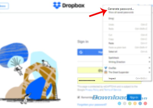 Sử dụng tính năng tạo mật khẩu ngẫu nhiên
