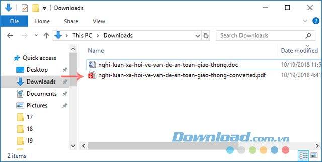 File sau khi chuyển đổi Word sang PDF