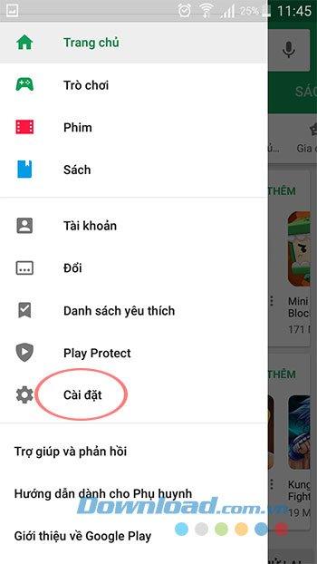 Cài đặt Google Play