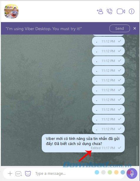 Gửi tin nhắn Viber đã sửa lại