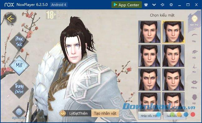 Tùy chỉnh các chi tiết trên khuôn mặt nhân vật Liệt Hỏa VNG