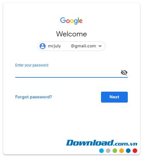Điền thông tin tài khoản Gmail