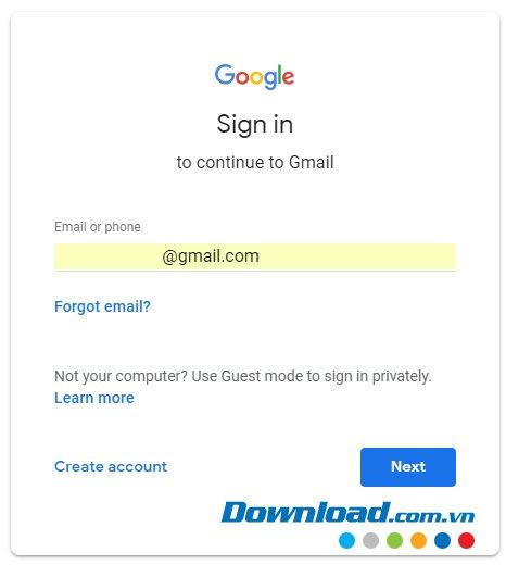 Sign in vào tài khoản Google