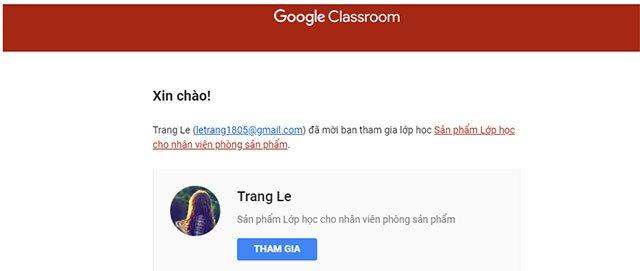 Mời học viên vào lớp bằng email