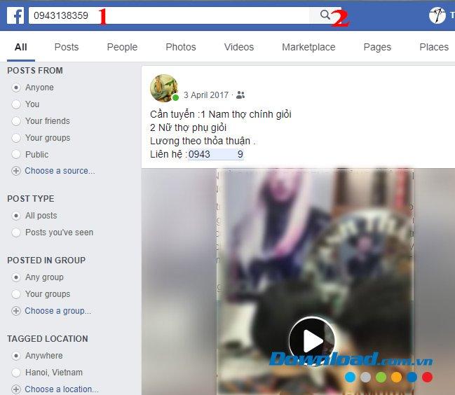 Tìm kiếm người khác trên Facebook