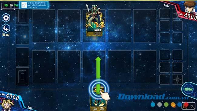 Kéo thả bài để thi đấu trong Yugi H5